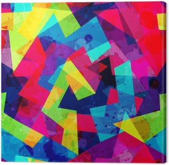 Leinwandbild Hellen geometrischen nahtlose Muster mit Grunge-Effekt