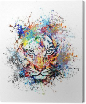 Leinwandbild Hellen Hintergrund mit Tiger