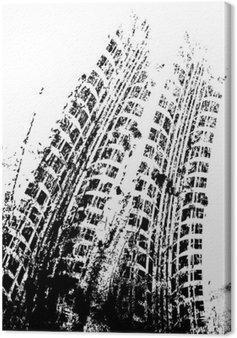 Leinwandbild Hintergrund mit Grunge schwarzen Reifenspur, Vektor