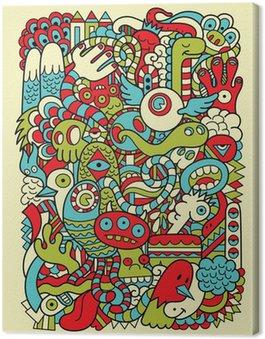 Leinwandbild Hipster Doodle Monster Collage Hintergrund
