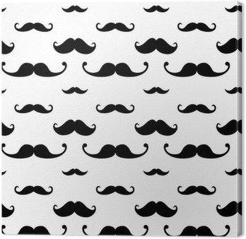 Leinwandbild Hipster Mustache Seamless Pattern