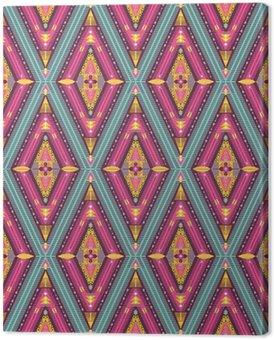 Leinwandbild Hipster nahtlose bunte Stammesmuster mit geometrischen Elementen