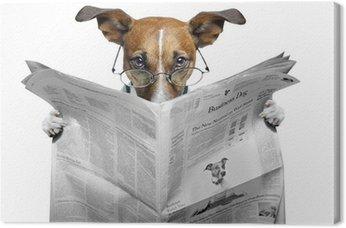 Leinwandbild Hund liest Zeitung