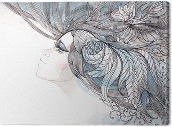 Leinwandbild Ihr Haar kunstvoll mit Laub