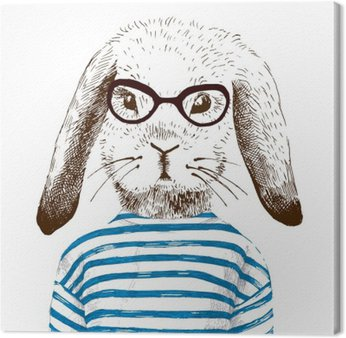 Leinwandbild Illustration der Hase verkleidet
