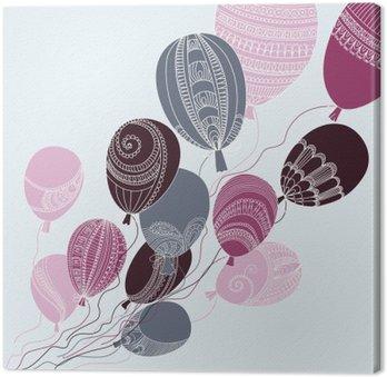 Leinwandbild Illustration mit bunten Luftballons fliegen