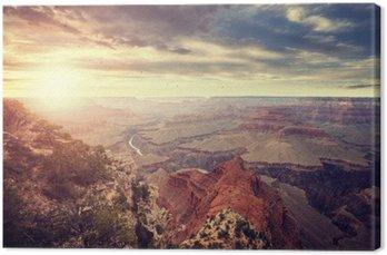 Leinwandbild Jahrgang getönten Sonnenuntergang über Grand Canyon, eines der touristischen Top-Destinationen in den Vereinigten Staaten.