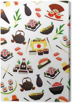 Leinwandbild Japanische Küche Meeresfrüchten, Sushi nahtlose Muster