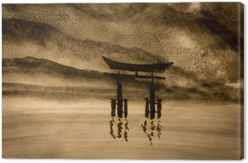 Leinwandbild Japanische Tor in Wasser