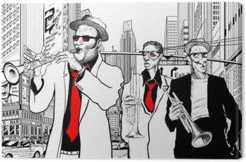 Leinwandbild Jazz-Band in einer Straße von New York