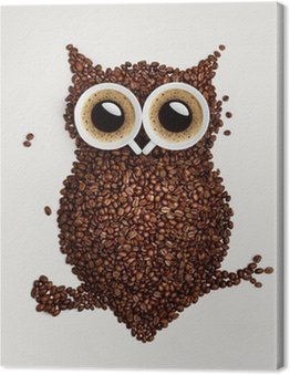 Leinwandbild Kaffee-Eule.