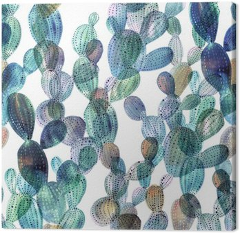 Leinwandbild Kaktus Muster in Aquarell-Stil