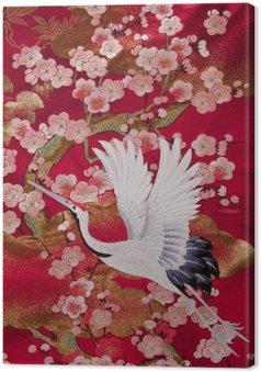 Leinwandbild Kimono 鶴
