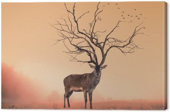 Leinwandbild Konzeptionelle Deer Hirsch, ein dürrer Baum wie Rothirsch
