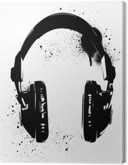 Leinwandbild Kopfhörer Graffiti