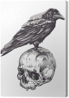 Leinwandbild Krähe auf Schädel