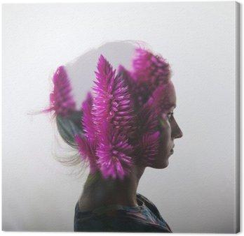 Leinwandbild Kreative Doppelbelichtung mit Porträt der jungen Mädchen und Blumen