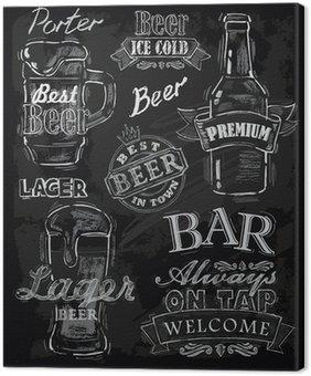Leinwandbild Kreide Bier