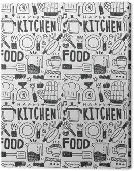 Leinwandbild Küchenelemente Doodles Hand gezeichnet Linie Symbol, eps10