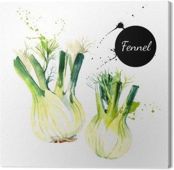 Leinwandbild Küchenkräuter und Gewürze Banner. Vektor-Illustration. Aquarell