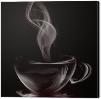 Leinwandbild Künstlerische Illustration Smoke Cup Of Coffee on black