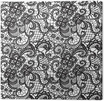 Leinwandbild Lace Schwarz nahtlose Muster mit Blumen auf weißem Hintergrund