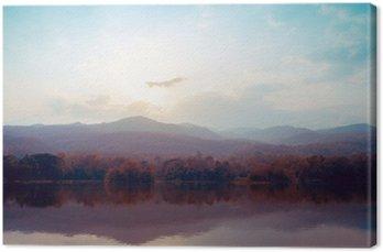 Leinwandbild Landschaft von See Berge im Herbst - Vintage-Stile.