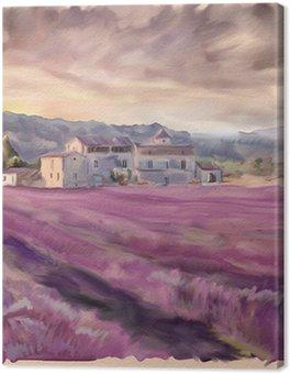 Leinwandbild Lavendelfeld in der Provence. Aquarellmalerei