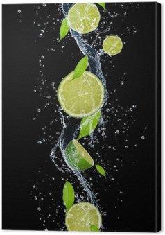 Leinwandbild Limes in Wasser spritzen, isoliert auf schwarzem Hintergrund