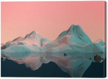 Leinwandbild Low-Poly 3D Berg Landschaft mit Wasser und Reflexion