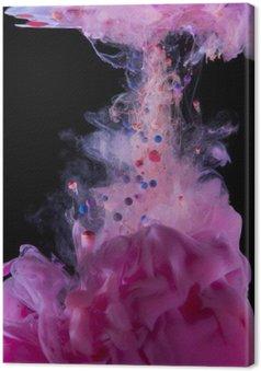 Leinwandbild Magenta-Tinte unter Wasser, auf schwarzem Hintergrund isoliert.