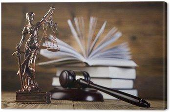 Leinwandbild Mallet, Rechts Code und Waage der Gerechtigkeit