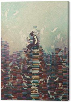 Leinwandbild Mann Buch zu lesen, während auf Stapel der Bücher sitzt, Wissen Konzept, Illustration,