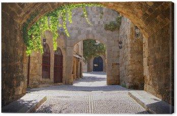 Leinwandbild Medieval gewölbte Straße in der Altstadt von Rhodos, Griechenland