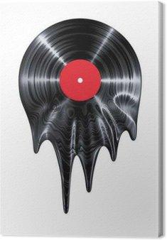 Leinwandbild Melting Vinyl-Schallplatte / 3D-Darstellung von Vinyl-Schallplatte Schmelz machen