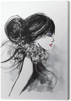 Leinwandbild Mode Frau Modell mit einem Schal