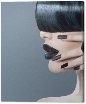 Leinwandbild Mode-Modell Mädchen Porträt mit trendy Frisur