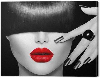 Leinwandbild Model Mädchen mit trendigen Frisur, Make-up und Maniküre