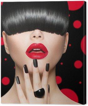Leinwandbild Modell Mädchen Porträt mit trendigen Frisur, Make-up und Maniküre