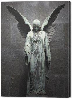 Leinwandbild Monument des alten Engel auf Friedhof in Warschau