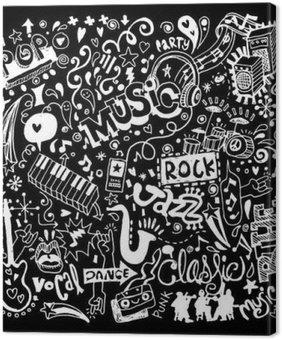 Leinwandbild Musik-Hintergrund, Handzeichnung Gekritzel