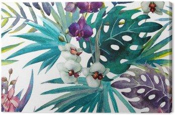 Leinwandbild Muster Orchid Hibiscus lässt Aquarell Tropen