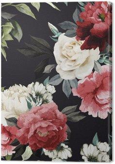 Leinwandbild Nahtlose Blumenmuster mit Rosen, Aquarell. Vector illustrat