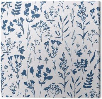 Leinwandbild Nahtlose Hand gezeichnet Blumenmuster mit Kräutern