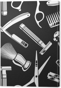 Leinwandbild Nahtlose Muster Hintergrund mit Vintage-Friseurladen Tools