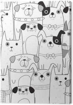 Leinwandbild Nahtlose Muster Hunde