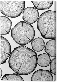 Leinwandbild Nahtlose Muster mit Baumringen. Vektor-Hintergrund