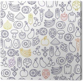 Leinwandbild Nahtlose Muster mit Früchten und Gemüse Icons