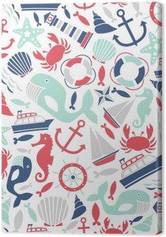 Leinwandbild Nahtlose Muster mit Meer Symbole