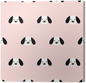 Leinwandbild Nahtlose niedlichen Hund Muster